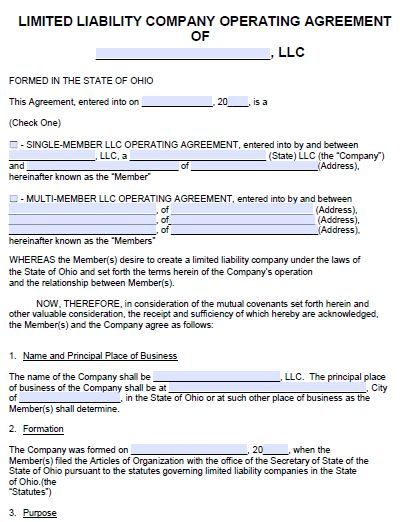 Free Ohio LLC Operating Agreement Template | PDF | Word |