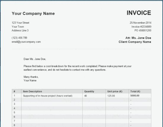 A Basic, Simple Online PDF Invoice Generator