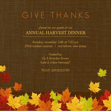 Free Printable Thanksgiving Dinner Invitations | cimvitation