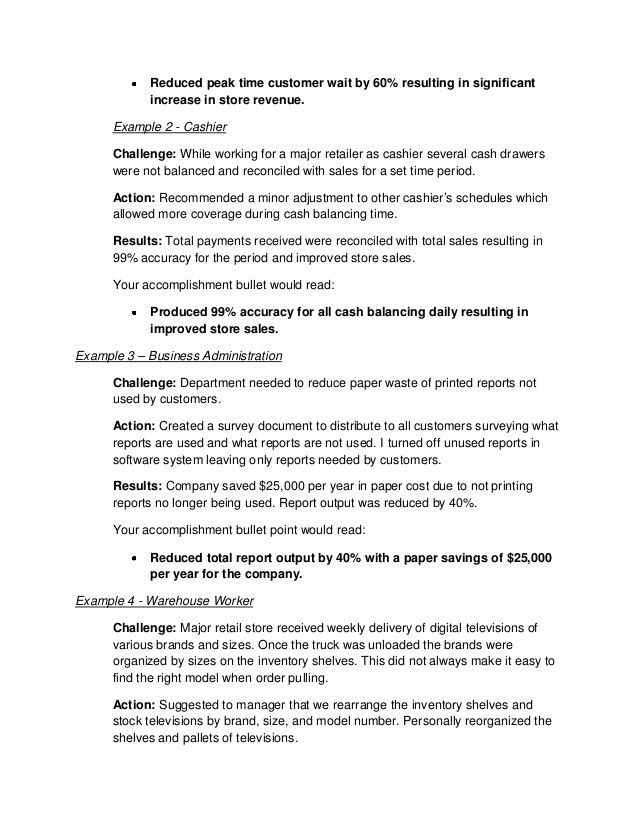 How to write job accomplishments
