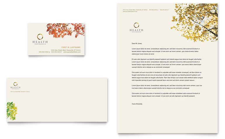 Health Insurance Company Business Card & Letterhead Template ...