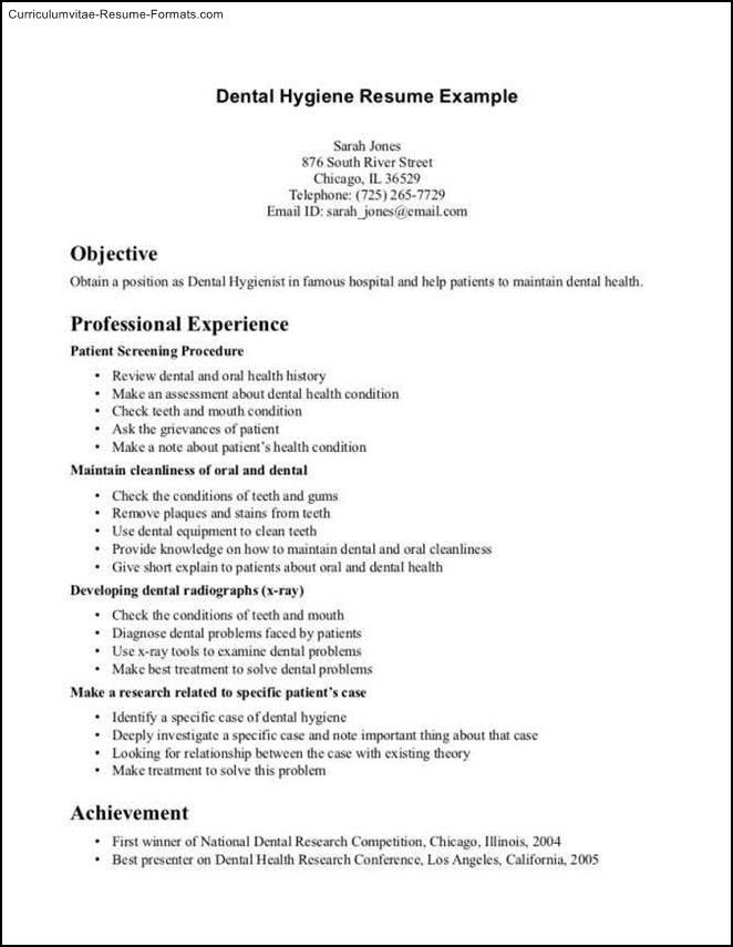 dental hygienist resume sample. sample dental hygienist resume ...
