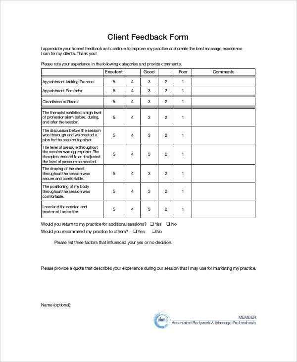 Sample Client Feedback Form   9+ Examples In Word, PDF