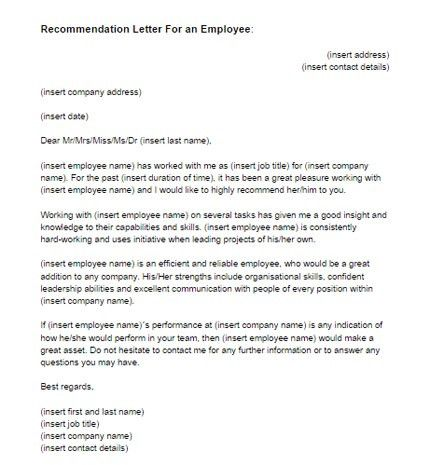 Recommendation Letter for an Employee Sample | Just Letter Templates