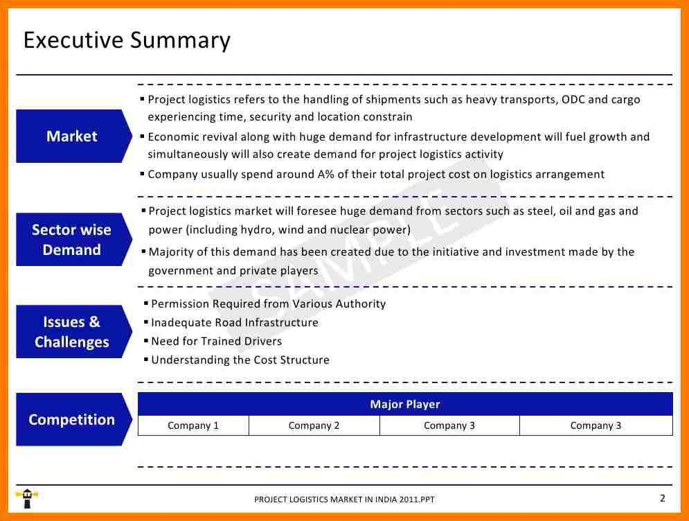 Executive Summary Format For Project Report [Template.billybullock ...