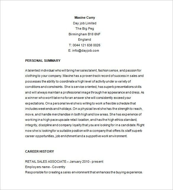 resume examples for retail sales associate resume example retail ...