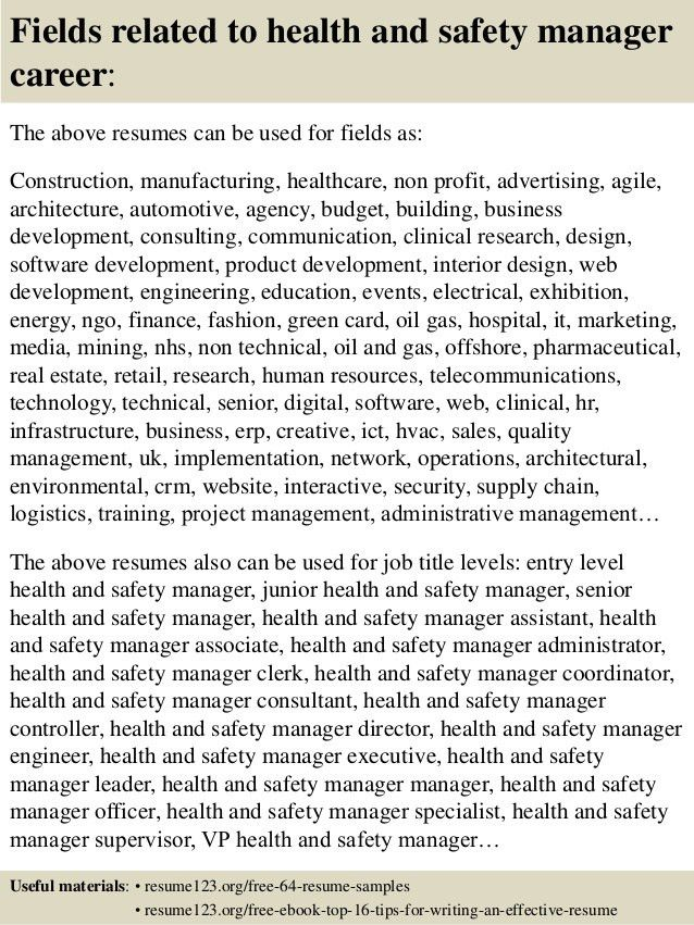 Health And Safety Executive Cover Letter] Environment Health And ...