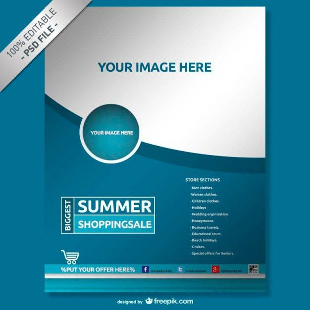 Blue company poster PSD file | Free Download