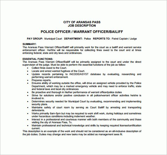 11+ Police Officer Job Description Templates – Free Sample ...