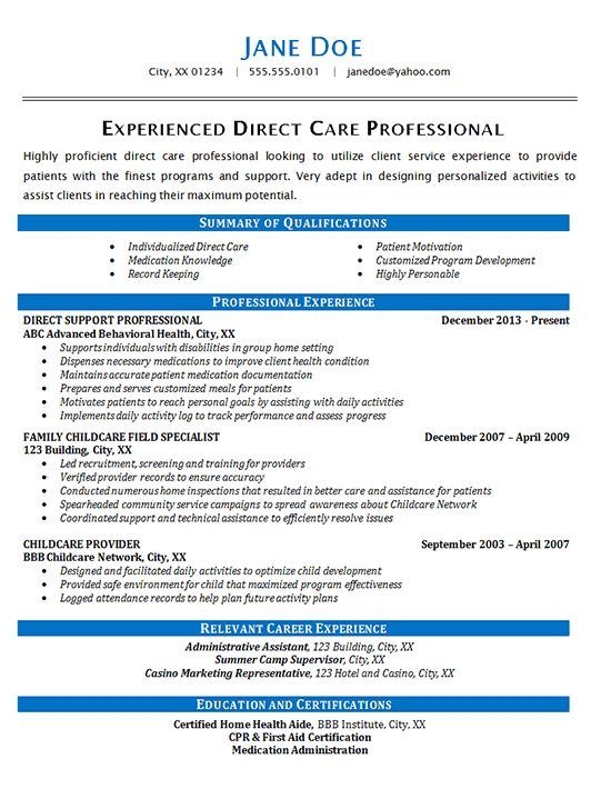 Direct Care Resume Example - Health Care Patients