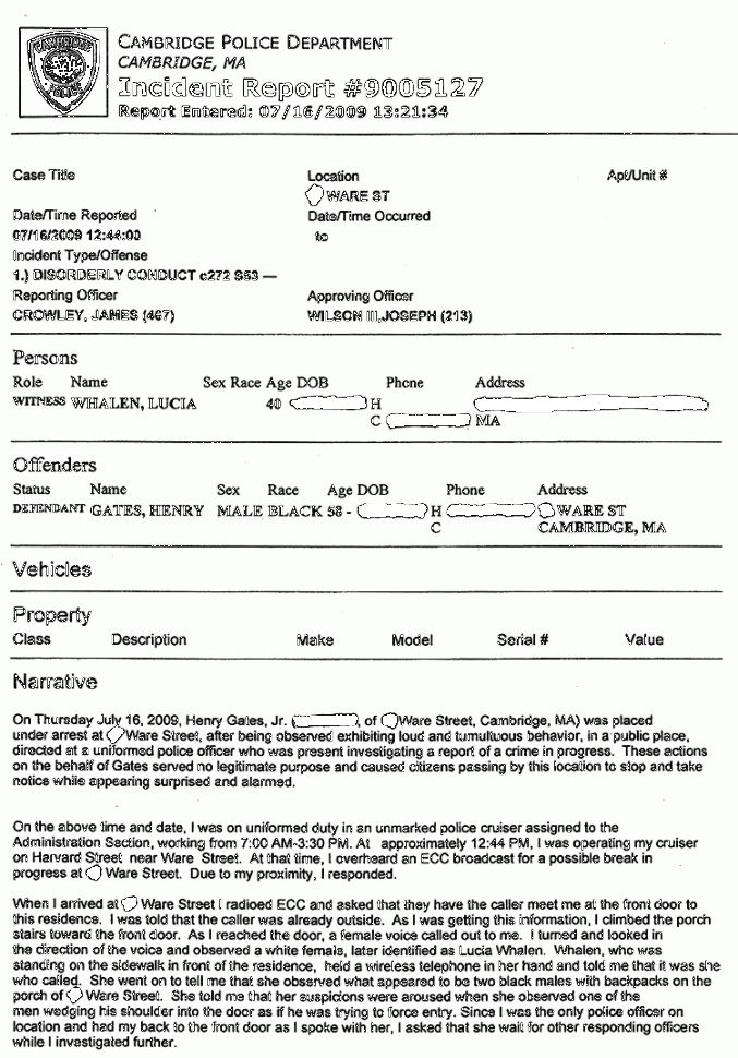 Henry Louis Gates, Jr. Police Report | The Smoking Gun