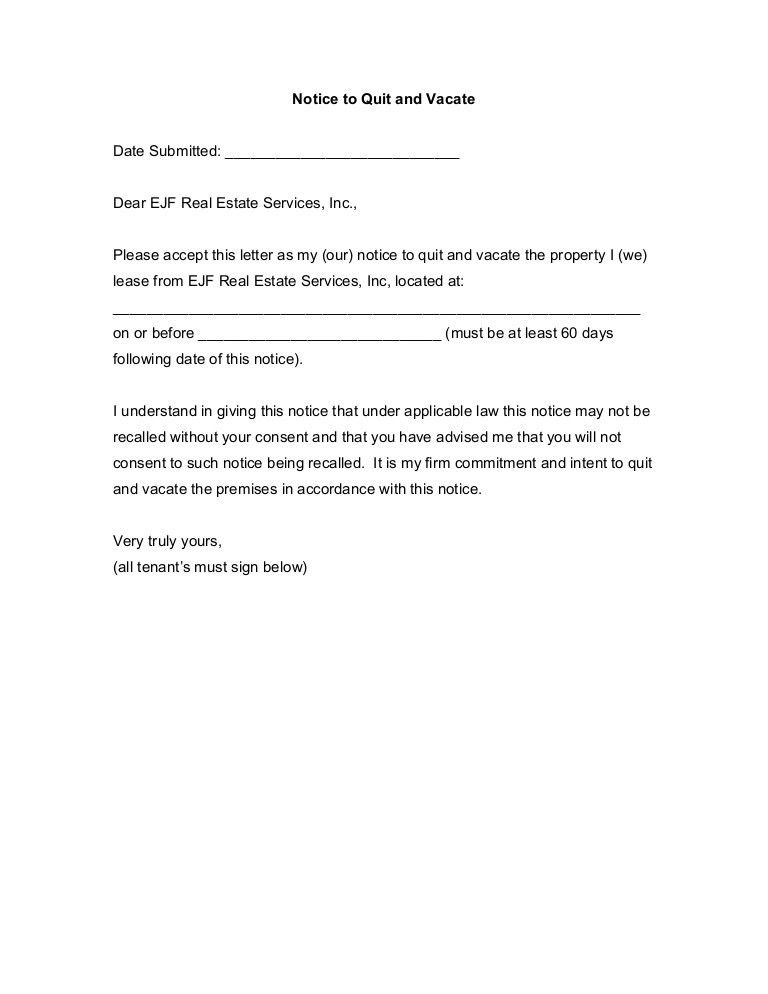 Notice Vacate To Letter. Letter Of Eviction Notice Template 19+ ...