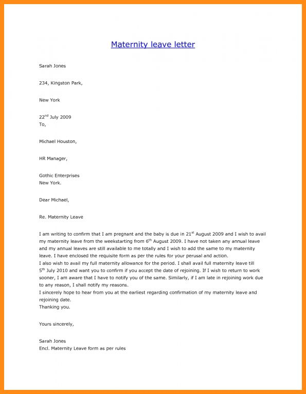 12+ sample of maternity leave letter | musicre sumed