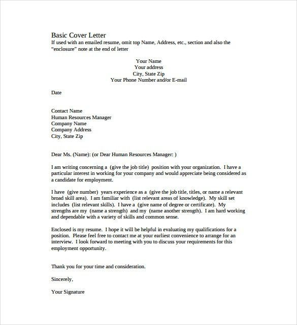 Sample Basic Cover Letter #14987