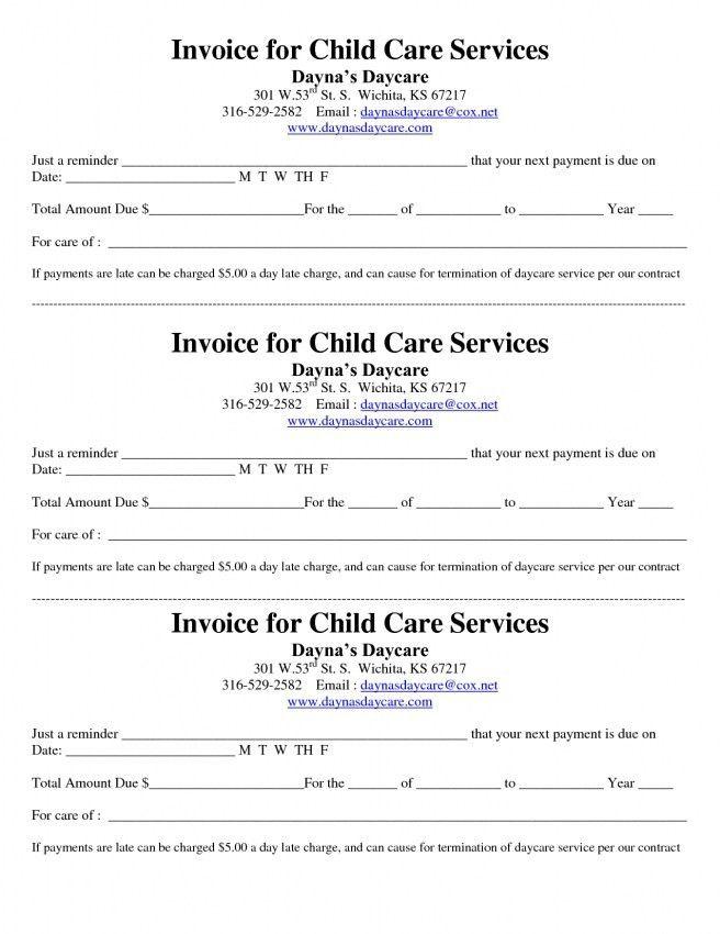 Daycare Invoice Template Word   Design Invoice Template