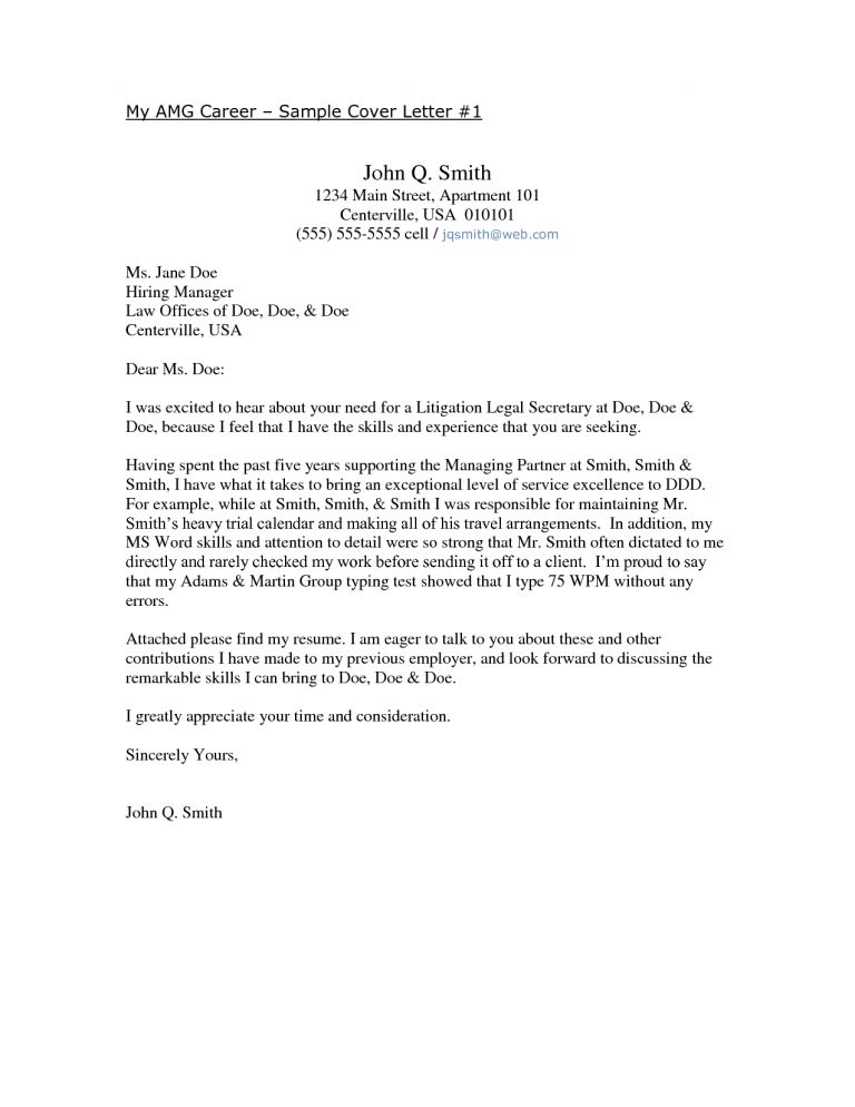 Winsome Ideas Secretary Cover Letter 4 Examples For - CV Resume Ideas