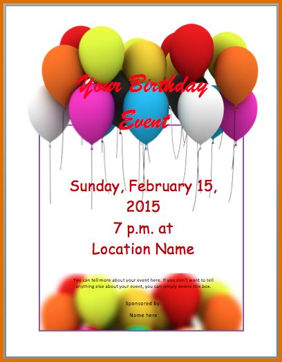 7+ birthday flyer templateReference Letters Words | Reference ...