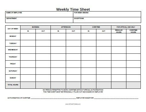 Free Printable Weekly Time Sheet | Office STuff | Pinterest | Free ...