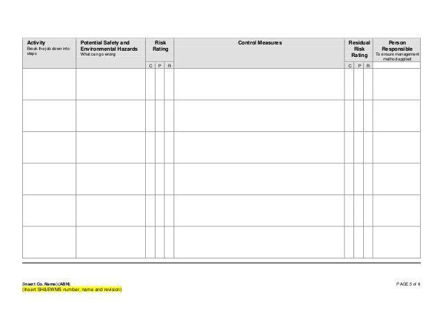 Form 002 - Safe Work Method Statement Template