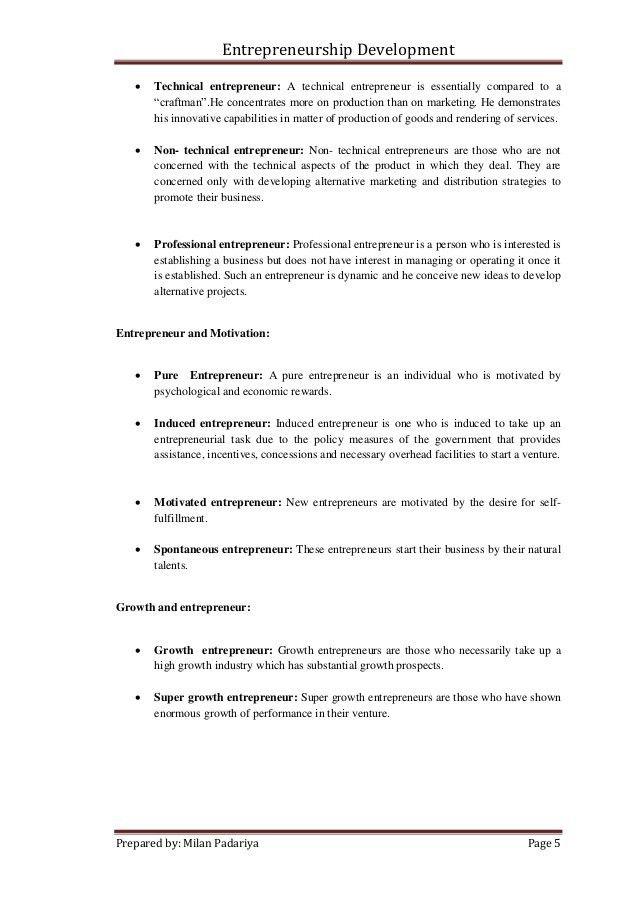 Entrepreneurship development assignment