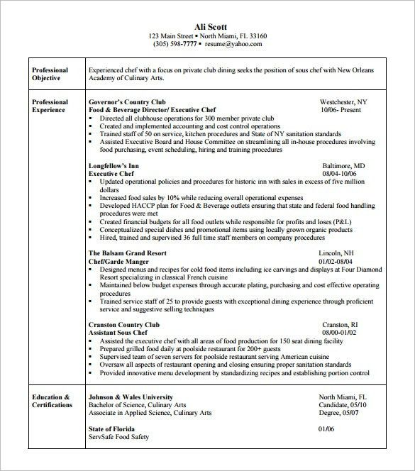 executive chef resume chef resume template 11 free samples