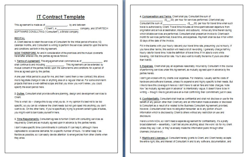 IT Contract Template | Tips & Guidelines
