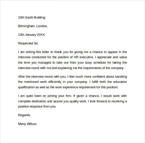 Sample Follow Up Letter To Hr After Interview - Compudocs.us