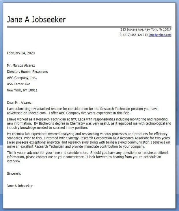 Cover Letter Research Technician | Creative Resume Design ...