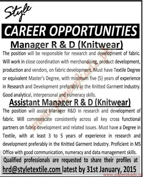 Manager R&D, Assistant Manager R&D Jobs - Jang Jobs ads 18 January ...