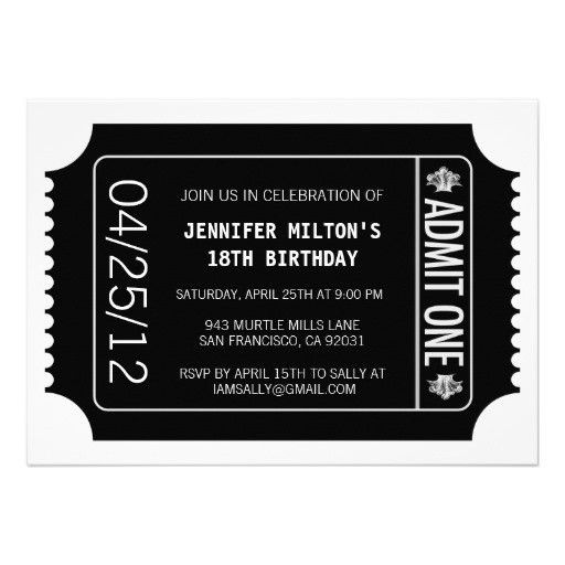 Personalized Birthday party ticket invite Invitations ...