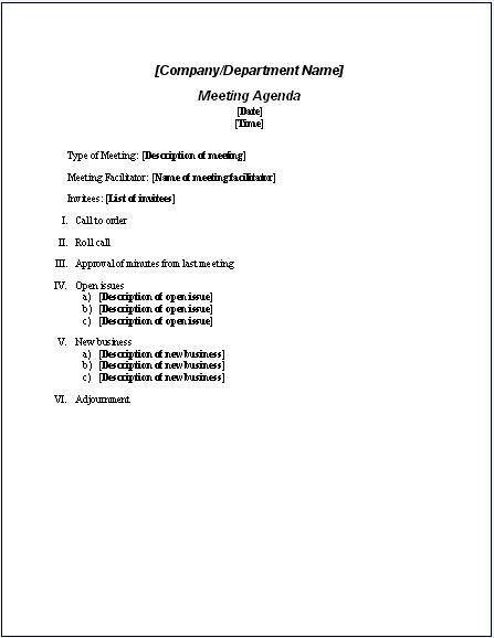 10 Best Images of Formal Agenda Sample - Sample Meeting Agenda ...