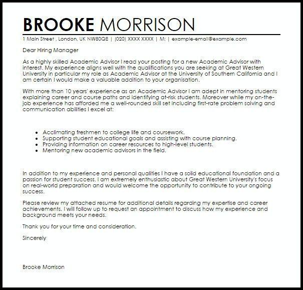 Academic Advisor Cover Letter | | jvwithmenow.com