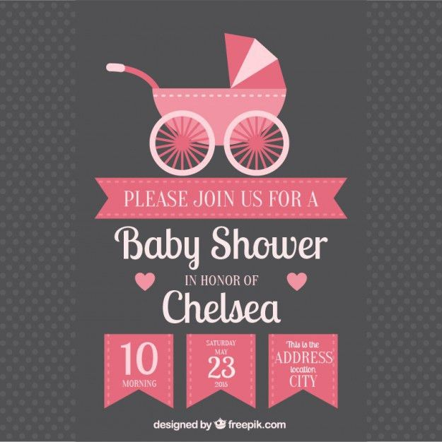 Baby shower invitation with baby buggy Vector | Free Download