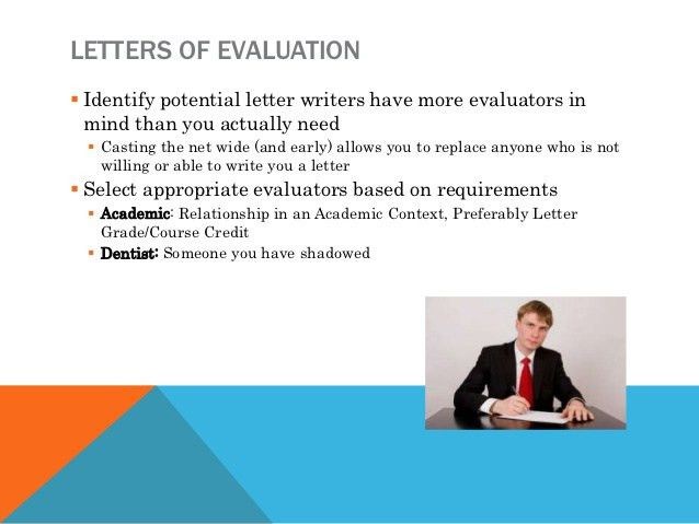 LETTERS OF EVALUATION Identify potential