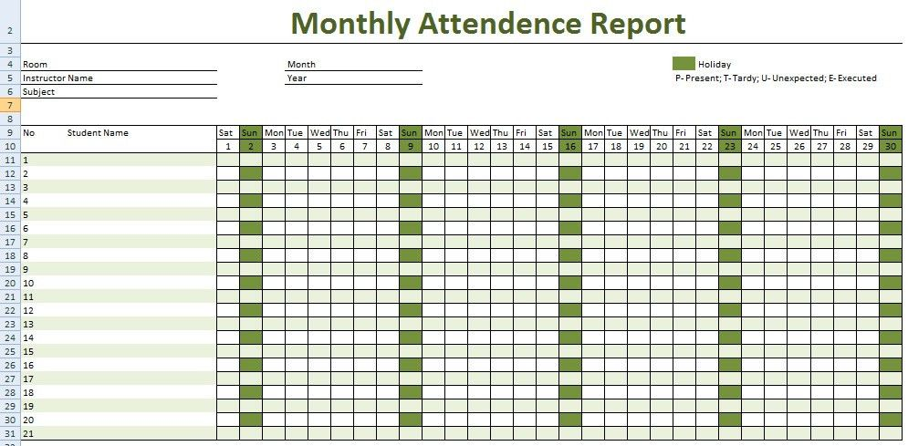Download Daily Staff Attendance Record Templates | Projectemplates ...