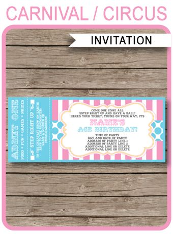 Carnival Party Ticket Invitations Template   Carnival or Circus ...