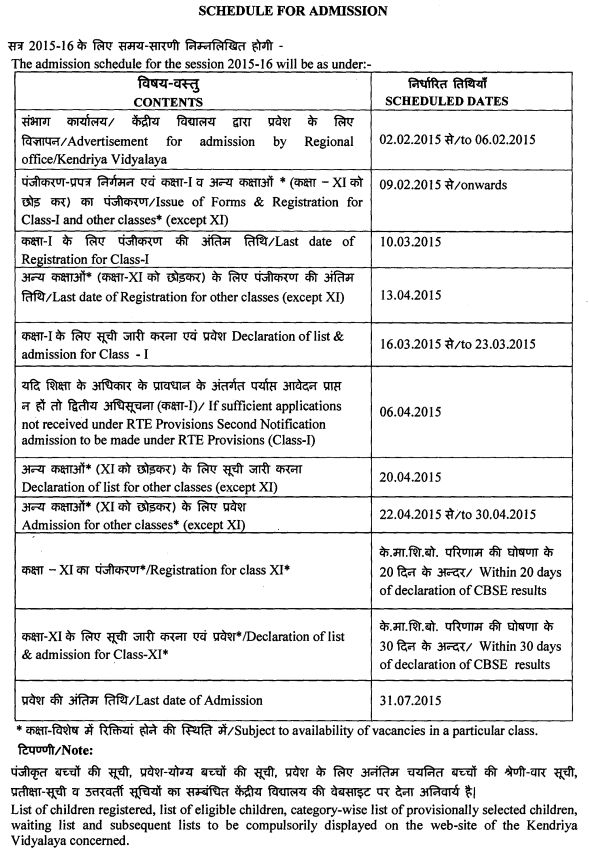 KV SChools Age Criteria and Admission Schedule for the year 2015-16