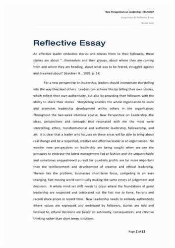 personal reflection essay examples