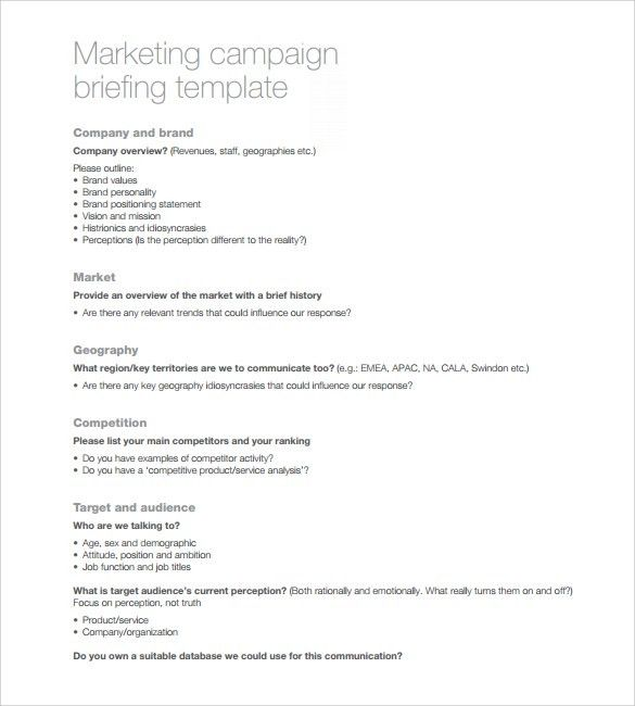 Sample Marketing Campaign Template - 8+ Free Documents in PDF ...