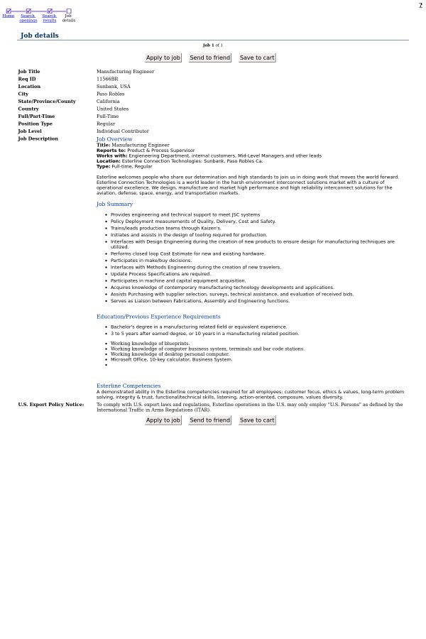 Manufacturing Engineer job at Esterline in Paso Robles, CA ...