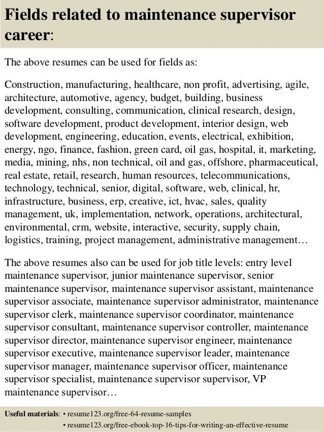 Top 8 maintenance supervisor resume samples
