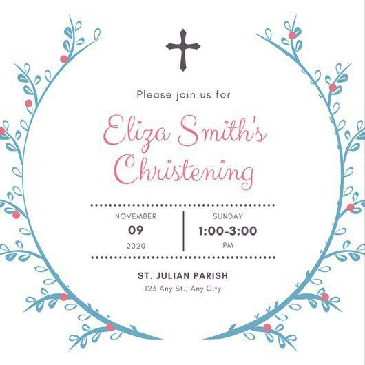 Blue Pink Girl Baptism Invitation - Templates by Canva