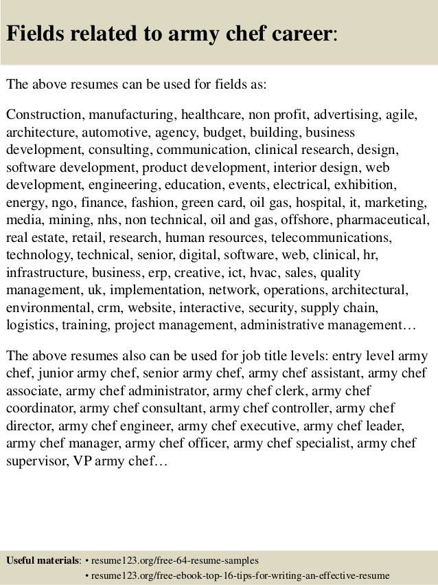 Top 8 army chef resume samples