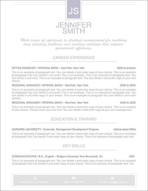 Elegant Resume Template - Premium line of Resume & Cover Letter ...