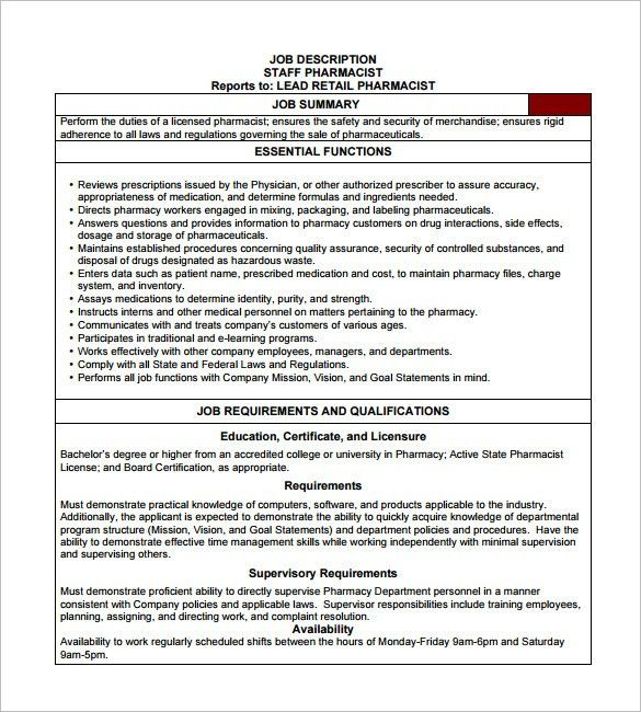 9+ Pharmacist Job Description Templates – Free Sample, Example ...