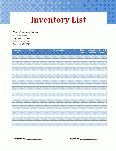 Stock List Template | Free Business Templates