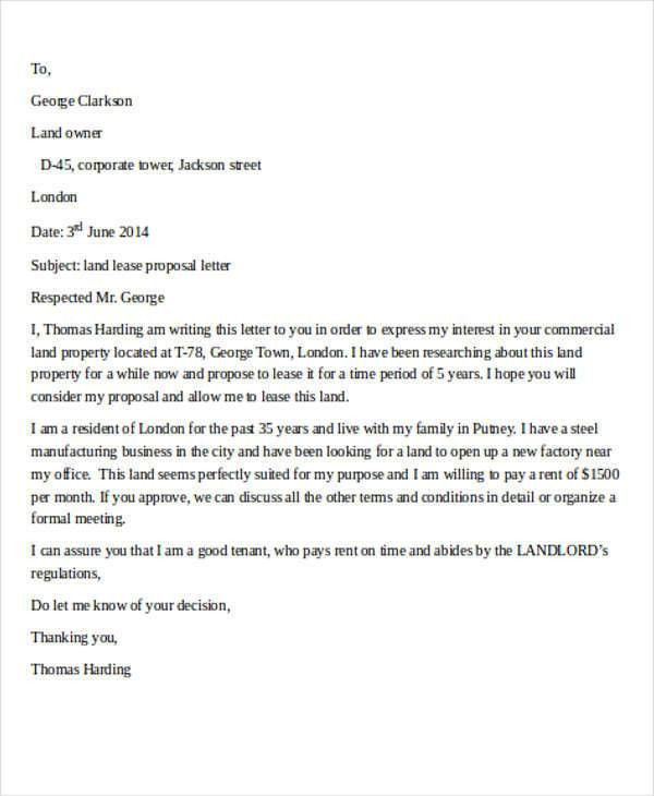 Sample Lease Proposal Letter - 9+ Examples in PDF, Word