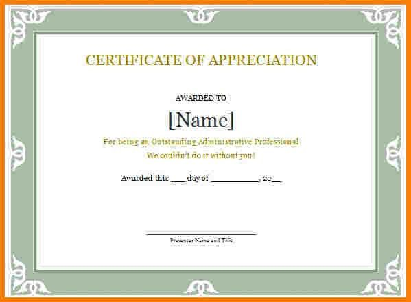 Certificate Of Appreciation Word Template [Template.billybullock.us ]