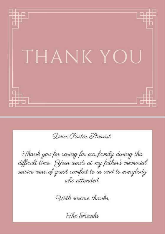 33+ Best Funeral Thank You Cards | Funeral, Pastor and Note