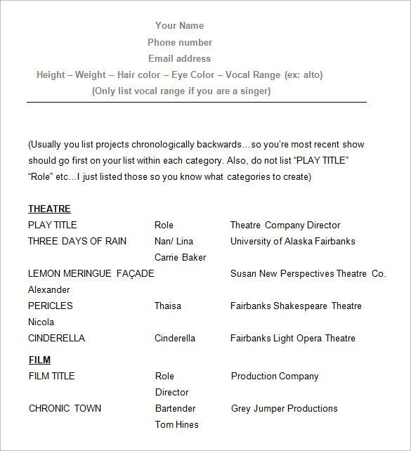 Surprising Acting Resume Template 9 10 Acting Resume Templates ...